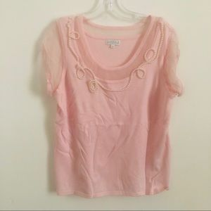 Joseph A pink and shear embellished  Pink sweater
